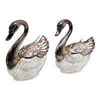 Vintage Two Swan Salt Cellars with Silverplated Moveable Wings 1940-50s Good Vintage Condition