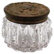 Vintage Art Nouveau Powder Puff Jar with Metal Lid Cherub Zipper Design Good Condition