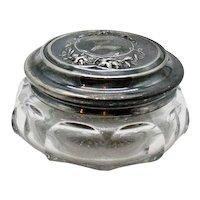 Vintage Art Nouveau Powder Puff Jar by Heisey Metal Embossed lid Good Condition