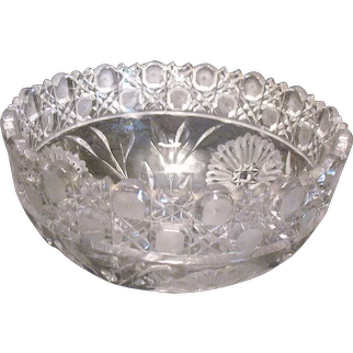 Vintage Lead Crystal Bowl Intaglio Flowers Cane Crosshatching Designs Good Condition