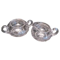 Vintage Sugar & Creamer Set Intaglio Floral Cuttings Rim Notches Polished Bottoms Good Condition