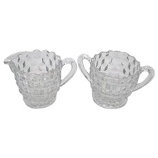 Vintage Fostoria Individual Sugar & Creamer in the American Pattern from 1915-82 Good Condition