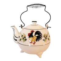 Vintage Teapot by Fred Roberts with Rooster & Flowers Motif 1960-70s