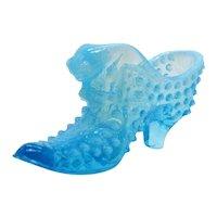 Vintage Fenton Blue Opalescent Hobnail Slipper Shoe 1939-55 Good Condition