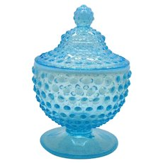Vintage Fenton Blue Opalescent Hobnail Candy Dish with Lid and Still in Good Condition