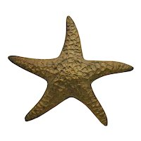 Vintage Brass Star Fish Wall Hanging Decoration Made in Korea 1950s Good Condition
