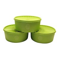 Vintage 3 Lime Green Tupperware Storage Containers Servalier with Lids 1960-70s Good Condition