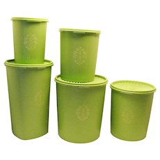 Vintage 5 Piece Tupperware Cannister set in Lime Green Color 1960-70s Good Condition