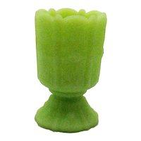 Vintage Fenton Green Satin Glass Toothpick Holder 1974-79 in Good Condition