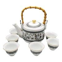 Vintage Porcelain Korean Teapot & Six Porcelain Cups 1950-60s Good Condition