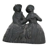 Vintage Cast Iron Double Bell 2 Witches/Women Halloween 1960-70s Good Condition