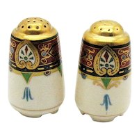 Vintage German Ceramic Shakers 1920-30s Olimpie Mark Gold Paint Good Condition