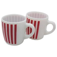 Vintage Hazel Atlas Milk Glass Mugs with Candy Stripe Red Vertical Lines 1950s Like New Condition