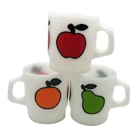 Vintage Anchor Hocking Fire King Stackable Milk Glass Mugs Fruit Motif 1960s Good Condition