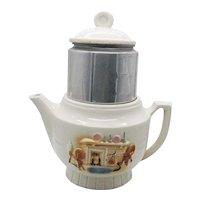 Vintage Porcelier Drip-O-Lator Coffee Pot 1927-51 Fireplace/Hearth Motif Good Vintage Condition