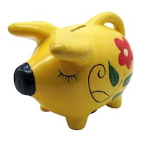 Vintage Pottery Pig Piggy Bank Hand Painted 1960-70s Good Vintage Condition