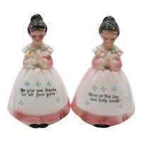 Vintage Kitchen Prayer Ladies S&P Shakers 1960s Good vintage Condition