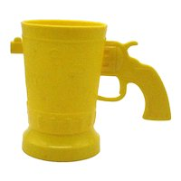 Vintage Yellow Cowboy Boot Cup Hard Plastic 1950s by E-Z Por Corp Chicago Good Condition