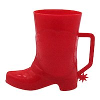 Vintage Hard Plastic Red Cowboy Boot Cup 1950s Good Condition