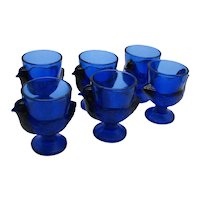 Vintage 6 Cobalt Blue Glass Egg Cups Made in France 1960s Good Condition