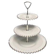 Vintage 3 Tier  Fenton Silver Crest Tidbit Milk Glass Serving Tray 1954-77 Good Condition