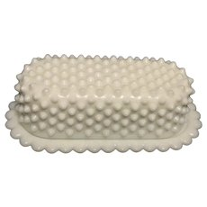 Vintage Fenton Hobnail Milk Glass ¼ pound Butter Dish with Cover 1954-77 Good Vintage Condition