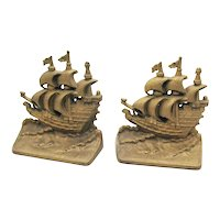 Vintage Cast Iron Sailing Ships Bookends 1939-50s Good Condition