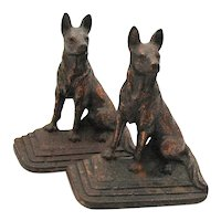 Vintage Cast Iron German Shepherd Bookends 1930-50 Good Condition