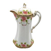Antique Hand Painted Nippon Chocolate Pot/Pitcher 1890-1921 Good Vintage Condition