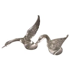 Vintage Heisey Solid Glass Crystal Geese Figurines Wings Up Wings Half-Way Up 1942-55. Good Condition