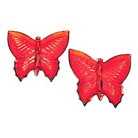 Vintage 2 Jeannette Ruby Flashed Butterfly Open Candy Dishes 1950-60s Good Condition