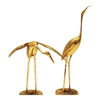 Vintage Mid-Century Brass Flamingo Figurines Made in Korea Good Vintage Condition