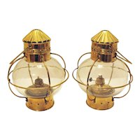 Two Vintage Nautical Brass Onion Oil Lamps Made in India 1960s Good Used Condition