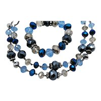 Gorgeous Signed Crown Trifari Vintage Sapphire Blue Glass Beaded Rondel Rhinestone Necklace Stretch Bracelet FREE SHIPPING