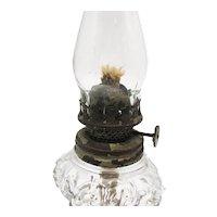 Vintage small Crystal Oil Lamp Embossed Grape Design Square Base & Font Good Vintage Condition