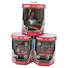 Three Vintage Radio Flyer Christmas Ornaments by The Enesco Group Year 2000 New in Box Very Good Condition