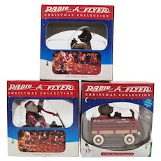 Three Vintage Radio Flyer Christmas Ornaments by Enesco Group 1998-99 New In Original Box Very Good Condition