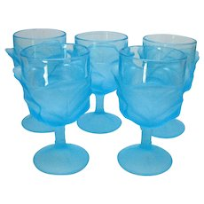 Vintage 5 Water Goblets by L.G. Wright Cabbage Leaf Blue Pattern 1960-80s Good Condition
