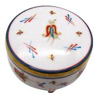Vintage Porcelain Round Vanity Trinket/Jewelry Box 1950-60s Good Condition