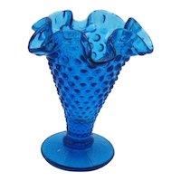 Vintage Fenton Hobnail Vase Colonial Blue Color 1964-79 Good Condition
