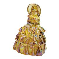 Vintage Southern Colonial Lady Figurine by Wheaton in Iridescent Carnival Glass 1970s Good Condition