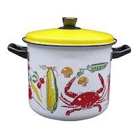 Vintage 1970 Enamelware Pan with Lid Vegetable Motif Good Condition Like New