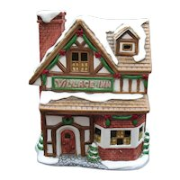 Vintage Lefton's Colonial Village  The Village Inn Hand Painted Porcelain with Light Good Condition