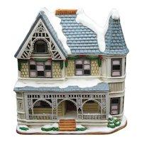 Vintage Lefton's Colonial Village Joseph House 1992 Hand Painted Porcelain Comes with Light Good Condition
