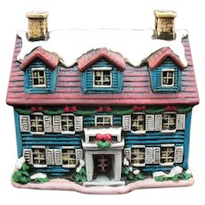 Vintage Lefton Colonial Village Hand Painted Porcelain Christmas House #05818-1986 Good Condition