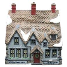 Vintage Dickens Village Series Dept. 56 Hand Painted Porcelain  Wackford Squeers Boarding School 1988 Good Condition