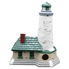 Vintage Dickens Village Series Dept. 56 Hand Painted Porcelain Lighthouse Building 1997 Good Condition