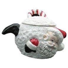 Vintage Ceramic Santa Cookie Jar/Cracker Jar In a Snowball 1978 Good Condition