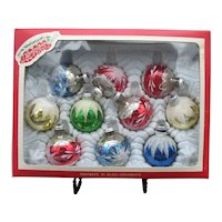 Vintage Glass Hand Painted Ornaments From Colombia 1960s Good Condition