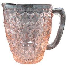Vintage Pink Depression Glass Pitcher by Jeannette in The Windsor Pattern 1936-46 Good Condition